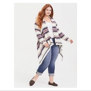 Ivory Striped Front Draped Cardigan